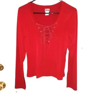 Fredricks of Hollywood long sleeve front lace top
